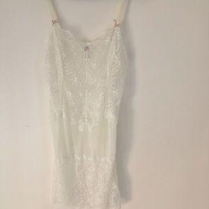 y2k B Tempt'd Sheer White Lace Mesh Slip Dress